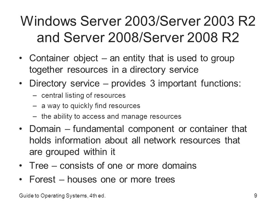 Guide to Operating Systems, 4th ed.10 Windows Server 2003/Server 2003 R2 and Server 2008/Server 2008 R2 Sample Windows Server domain and tree models