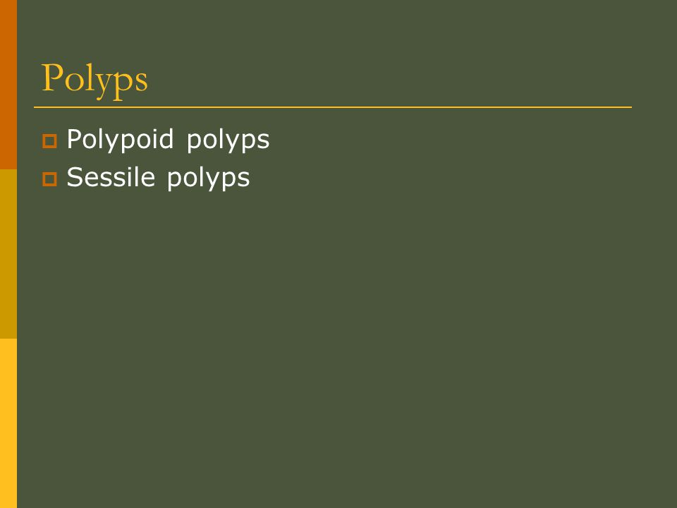 Polyps  Polypoid polyps  Sessile polyps