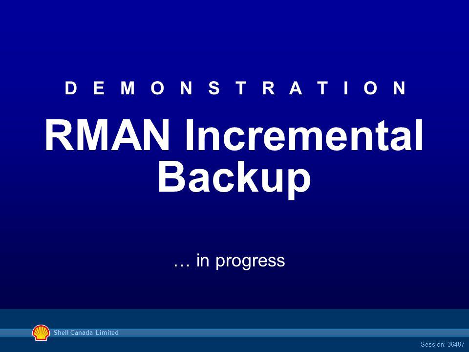 Shell Canada Limited Session: 36487 D E M O N S T R A T I O N RMAN Incremental Backup … in progress