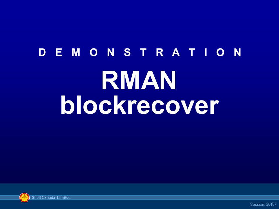 Shell Canada Limited Session: 36487 D E M O N S T R A T I O N RMAN blockrecover