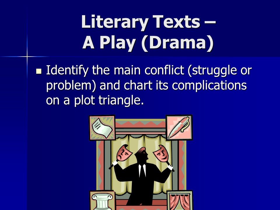Literary Texts – A Play (Drama) Identify the main conflict (struggle or problem) and chart its complications on a plot triangle.