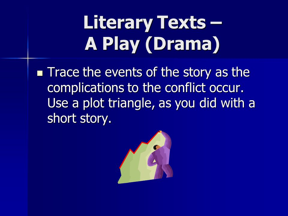 Literary Texts – A Play (Drama) Trace the events of the story as the complications to the conflict occur.
