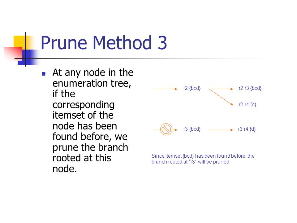 Prune Method 3 At any node in the enumeration tree, if the corresponding itemset of the node has been found before, we prune the branch rooted at this node.