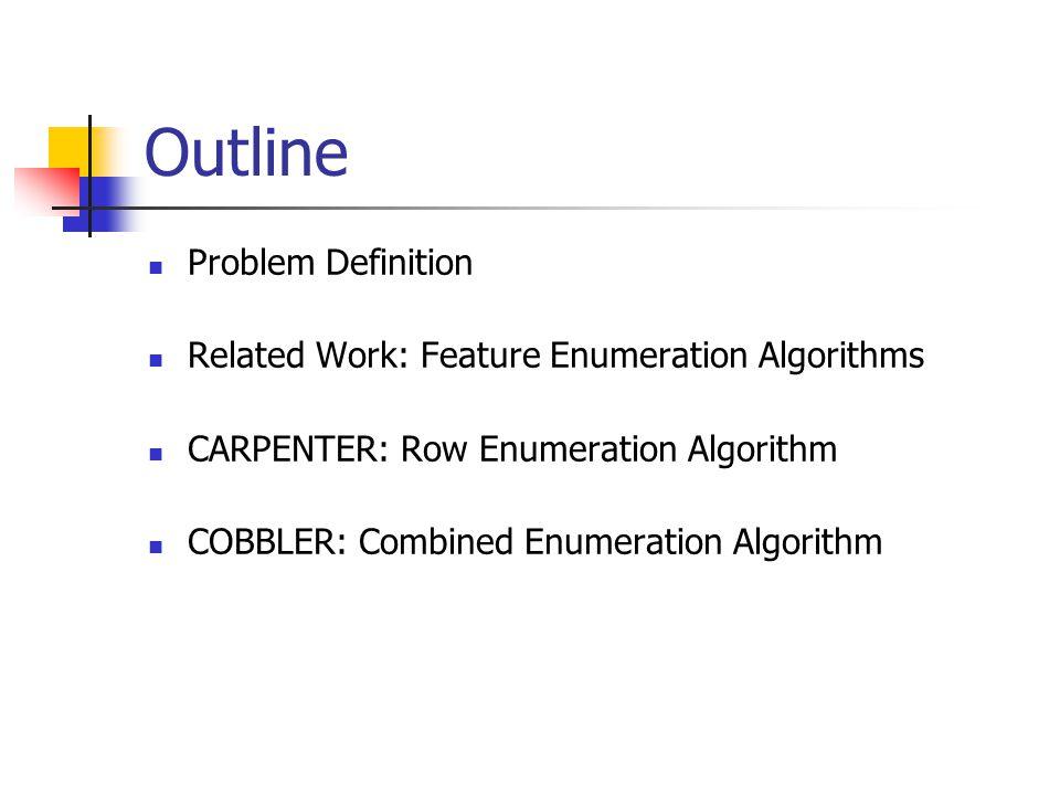 Outline Problem Definition Related Work: Feature Enumeration Algorithms CARPENTER: Row Enumeration Algorithm COBBLER: Combined Enumeration Algorithm