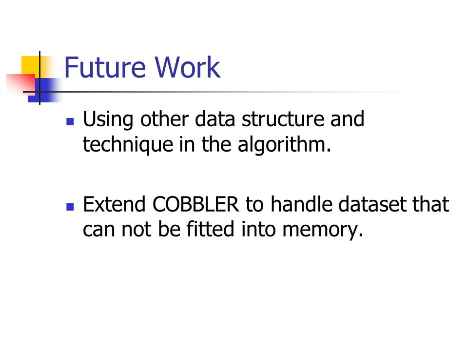 Future Work Using other data structure and technique in the algorithm.