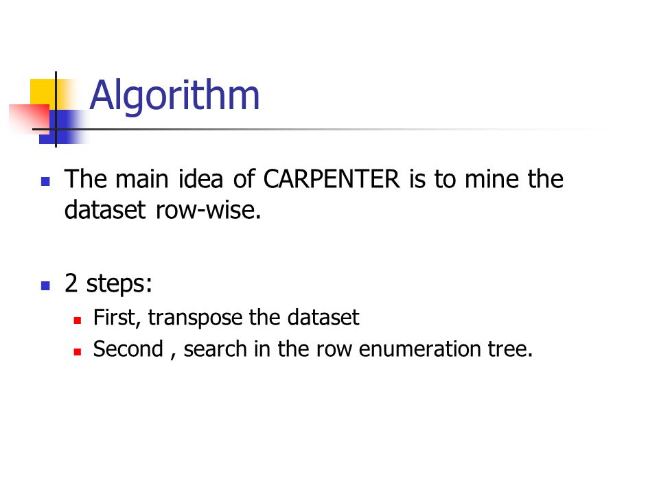 Algorithm The main idea of CARPENTER is to mine the dataset row-wise.