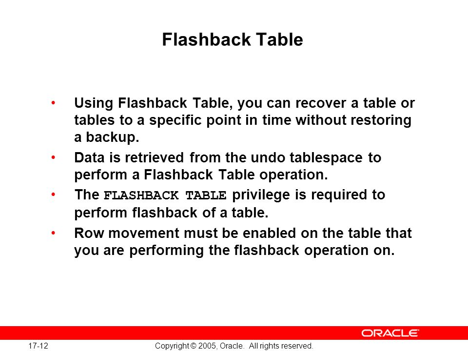 17-12 Copyright © 2005, Oracle. All rights reserved.