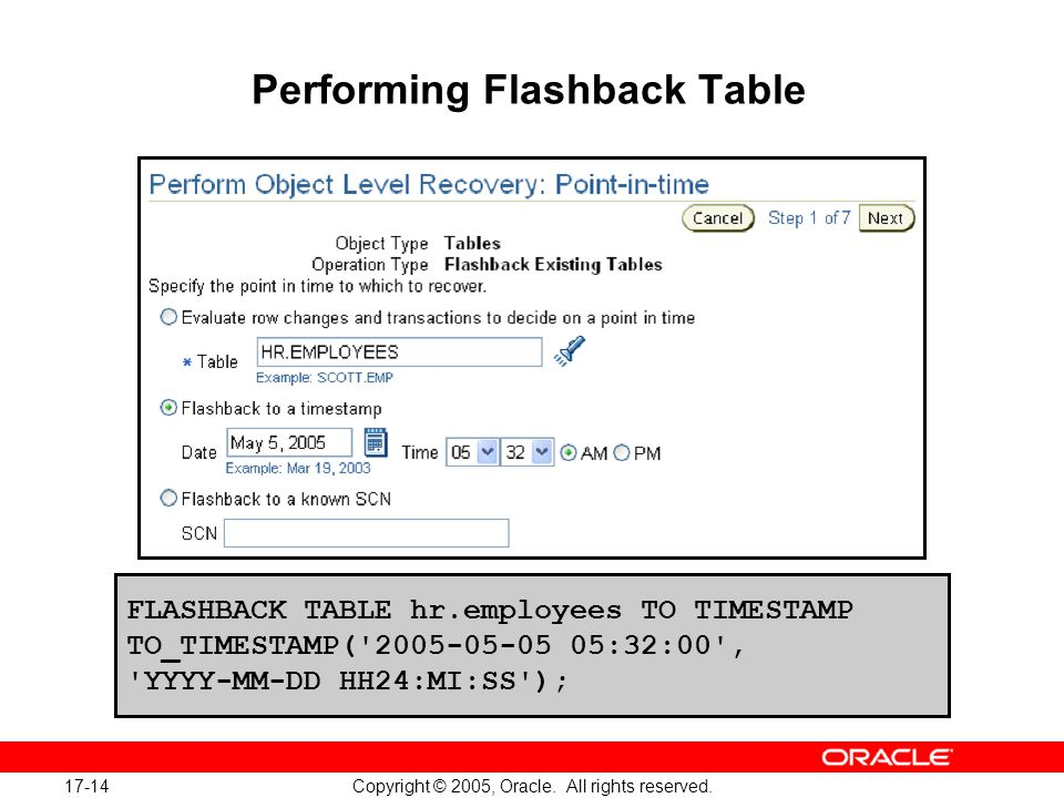 17-14 Copyright © 2005, Oracle. All rights reserved.