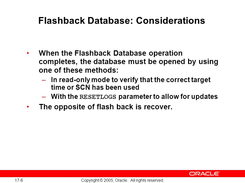 17-8 Copyright © 2005, Oracle. All rights reserved.