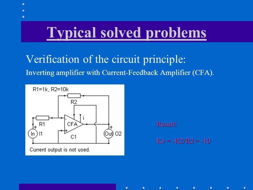 Verification of the circuit principle: Inverting amplifier with Current-Feedback Amplifier (CFA).