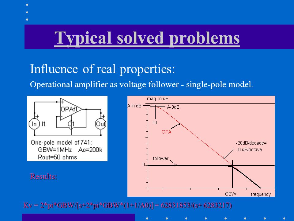 Influence of real properties: Operational amplifier as voltage follower - single-pole model.