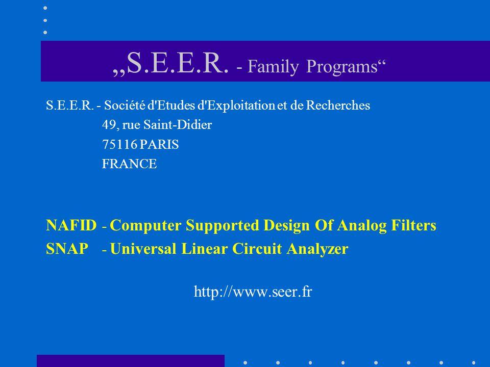 S.E.E.R. - Société d'Etudes d'Exploitation et de Recherches 49, rue Saint-Didier 75116 PARIS FRANCE NAFID - Computer Supported Design Of Analog Filter
