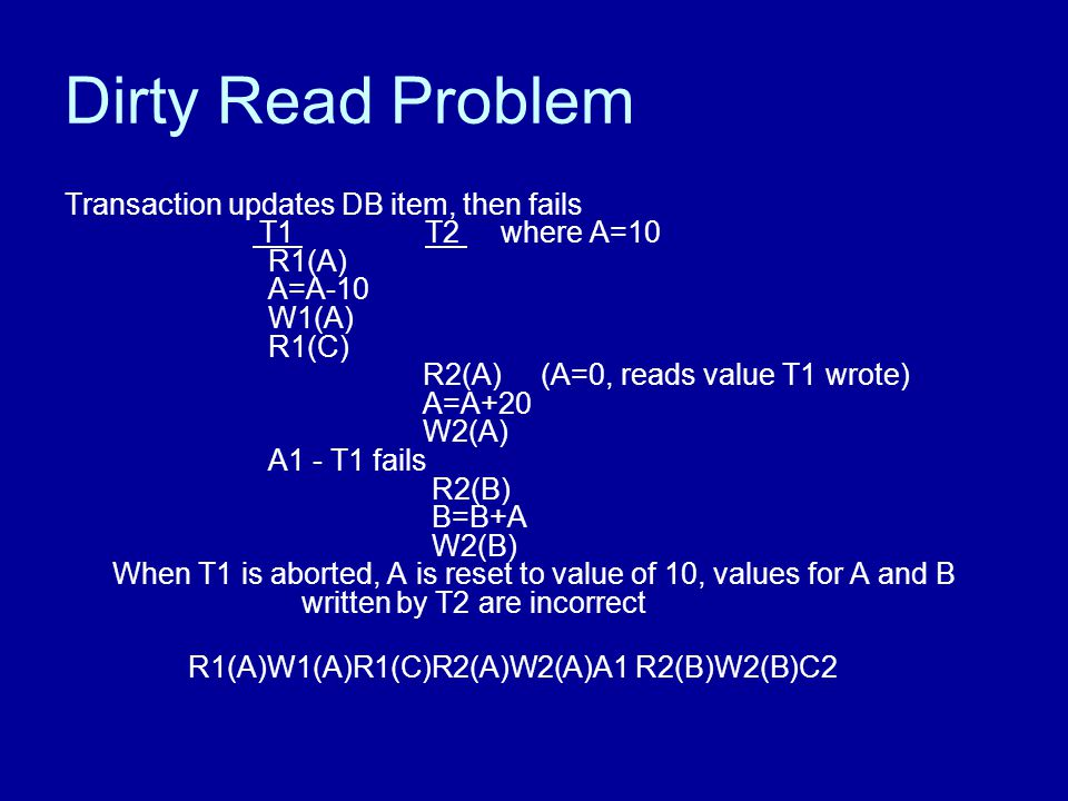 Dirty Read Problem Transaction updates DB item, then fails T1 T2 where A=10 R1(A) A=A-10 W1(A) R1(C) R2(A) (A=0, reads value T1 wrote) A=A+20 W2(A) A1