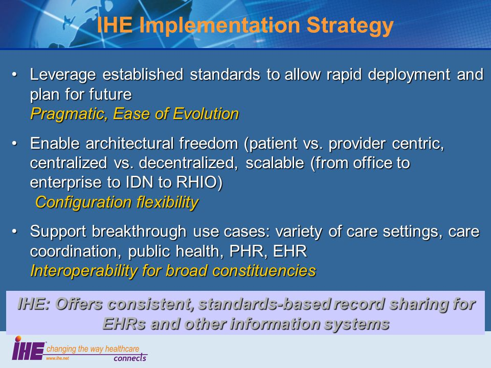 IHE Implementation Strategy Leverage established standards to allow rapid deployment and plan for future Pragmatic, Ease of EvolutionLeverage established standards to allow rapid deployment and plan for future Pragmatic, Ease of Evolution Enable architectural freedom (patient vs.