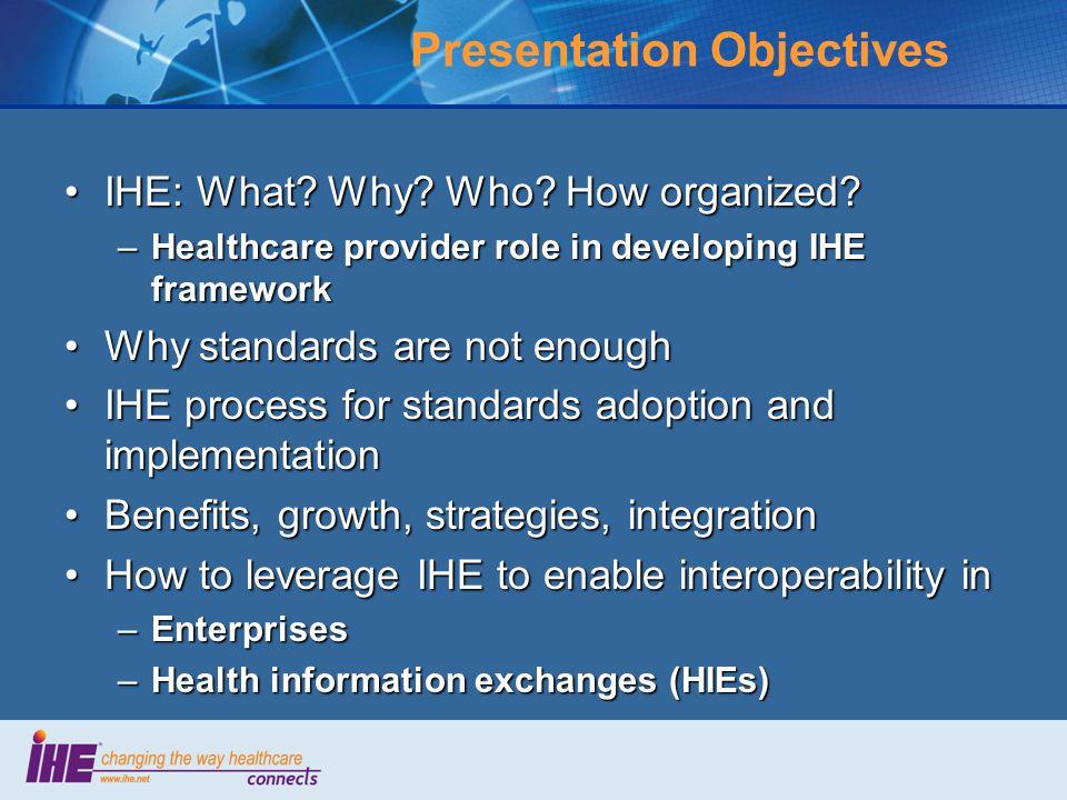 Presentation Objectives IHE: What. Why. Who. How organized IHE: What.