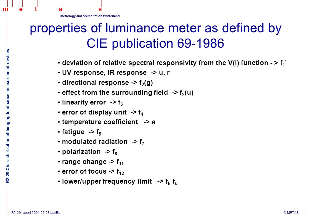 R2-29 report 2004-06-08.ppt/Bp © METAS - 11 maets metrology and accreditation switzerland R2-29 Characterization of imaging luminance measurement devices deviation of relative spectral responsivity from the V(l) function - > f 1 ' UV response, IR response -> u, r directional response -> f 2 (g) effect from the surrounding field -> f 2 (u) linearity error -> f 3 error of display unit -> f 4 temperature coefficient -> a fatigue -> f 5 modulated radiation -> f 7 polarization -> f 8 range change -> f 11 error of focus -> f 12 lower/upper frequency limit -> f l, f u properties of luminance meter as defined by CIE publication 69-1986