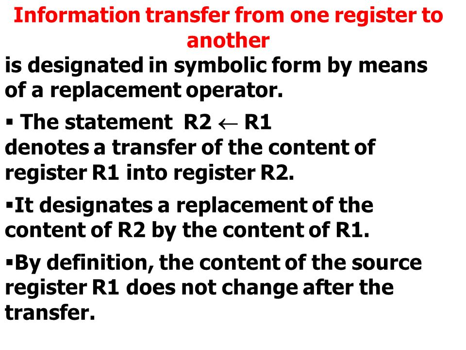 Information transfer from one register to another is designated in symbolic form by means of a replacement operator.