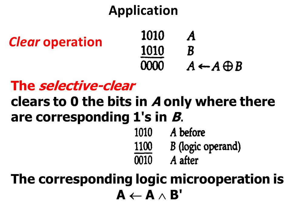 Application Clear operation The selective-clear clears to 0 the bits in A only where there are corresponding 1 s in B.