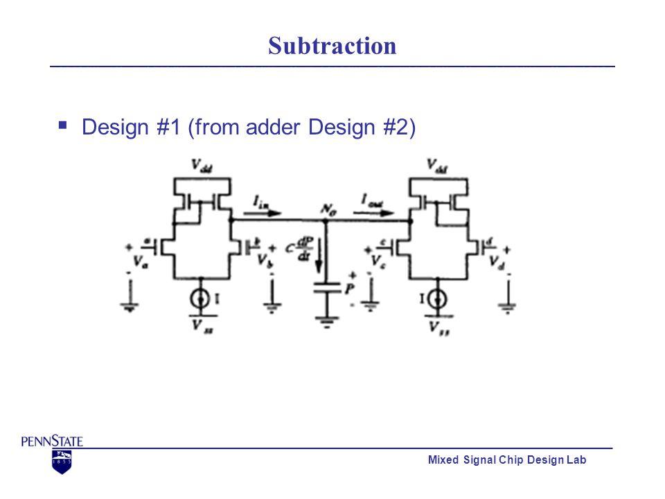 Mixed Signal Chip Design Lab Subtraction  Design #1 (from adder Design #2)