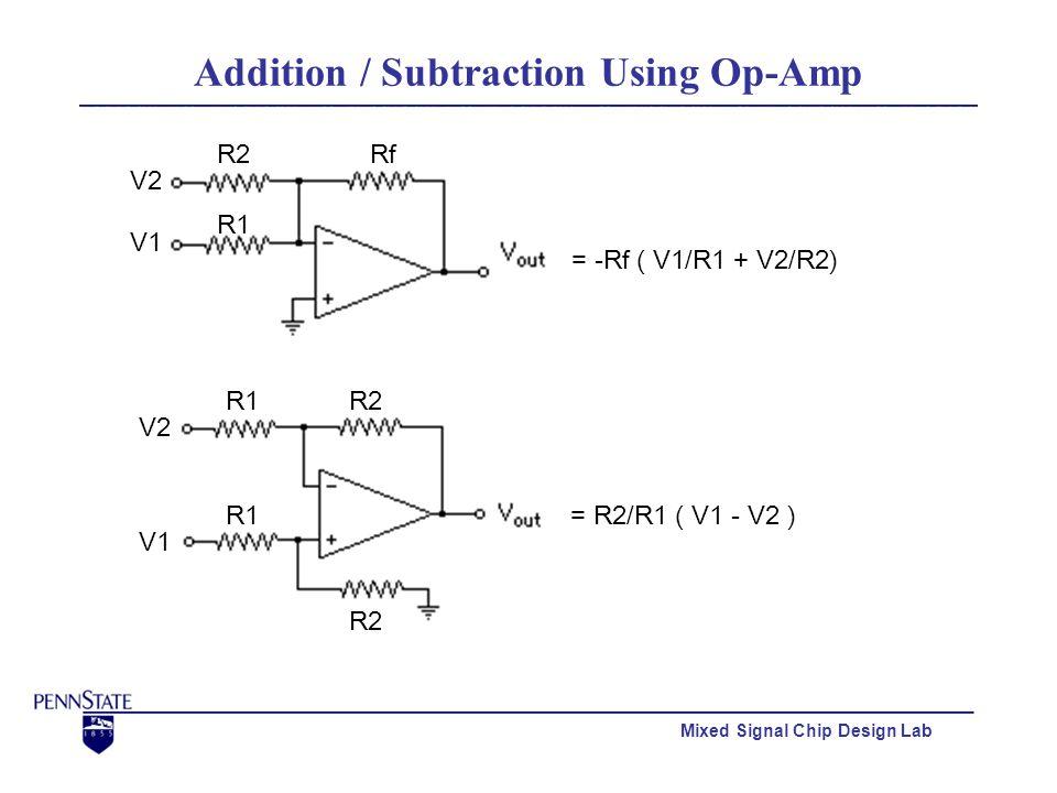 Mixed Signal Chip Design Lab Addition / Subtraction Using Op-Amp R1 R2Rf V1 V2 = -Rf ( V1/R1 + V2/R2) V1 V2 R1R2 R1 R2 = R2/R1 ( V1 - V2 )