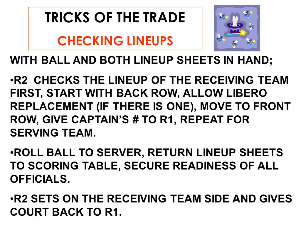 TRICKS OF THE TRADE CHECKING LINEUPS WITH BALL AND BOTH LINEUP SHEETS IN HAND; R2 CHECKS THE LINEUP OF THE RECEIVING TEAM FIRST, START WITH BACK ROW, ALLOW LIBERO REPLACEMENT (IF THERE IS ONE), MOVE TO FRONT ROW, GIVE CAPTAIN'S # TO R1, REPEAT FOR SERVING TEAM.