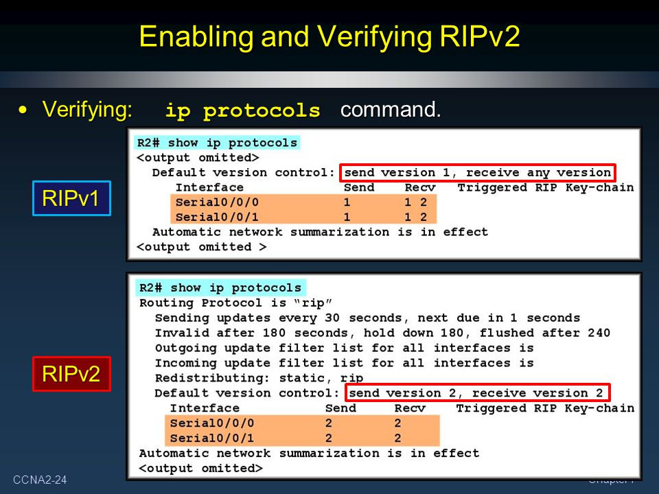 CCNA2-24 Chapter 7 Enabling and Verifying RIPv2 Verifying: ip protocols command.