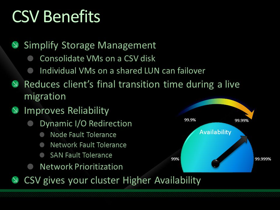 CSV Benefits Simplify Storage Management Consolidate VMs on a CSV disk Individual VMs on a shared LUN can failover Reduces client's final transition t
