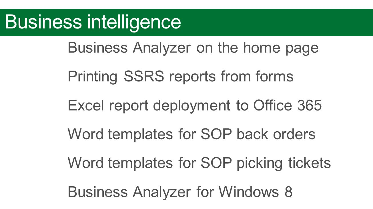 Business intelligence Business Analyzer on the home page Printing SSRS reports from forms Excel report deployment to Office 365 Word templates for SOP