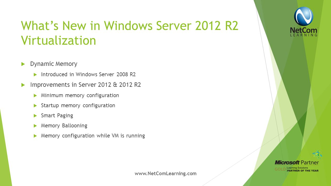 What's New in Windows Server 2012 R2 Virtualization  Virtual Machine Live Cloning  Export a clone of running VM  Allows Duplication of a virtual machine while it is running.
