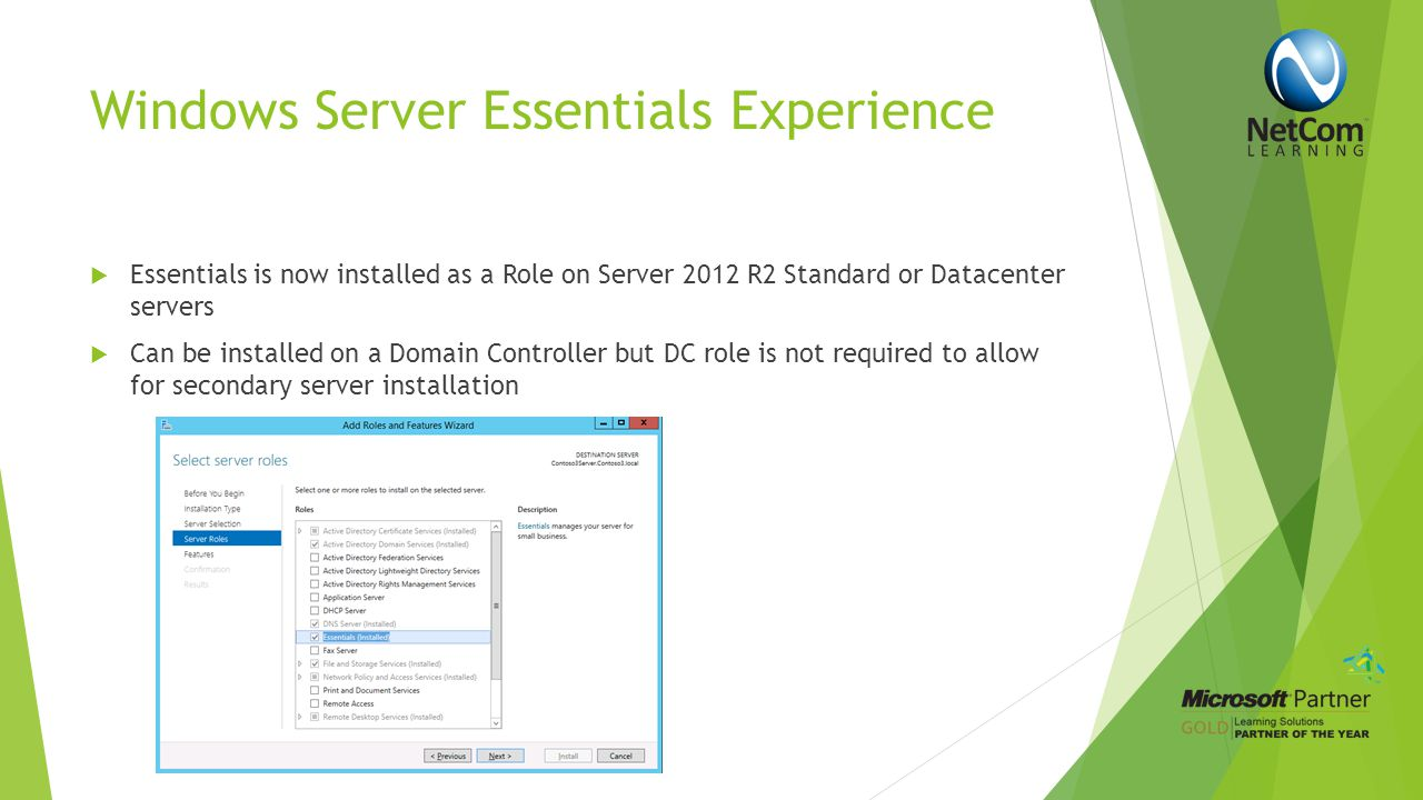 Demo Server Manager Essentials www.NetComLearning.com