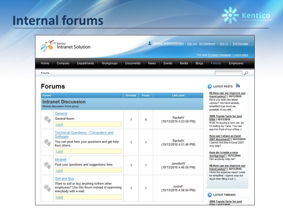 Internal forums