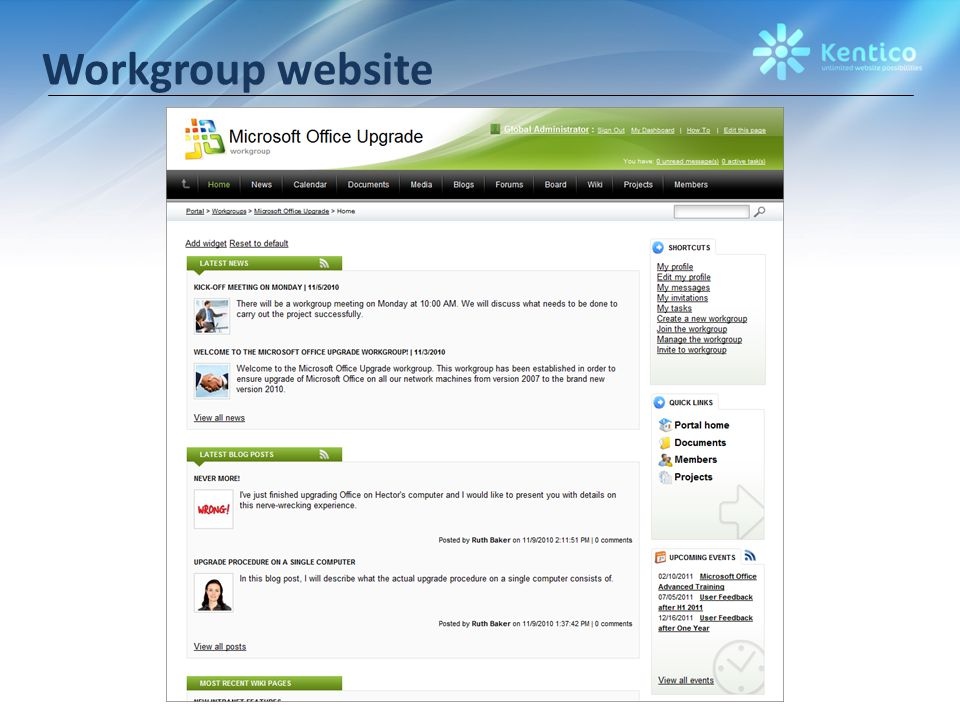 Workgroup website