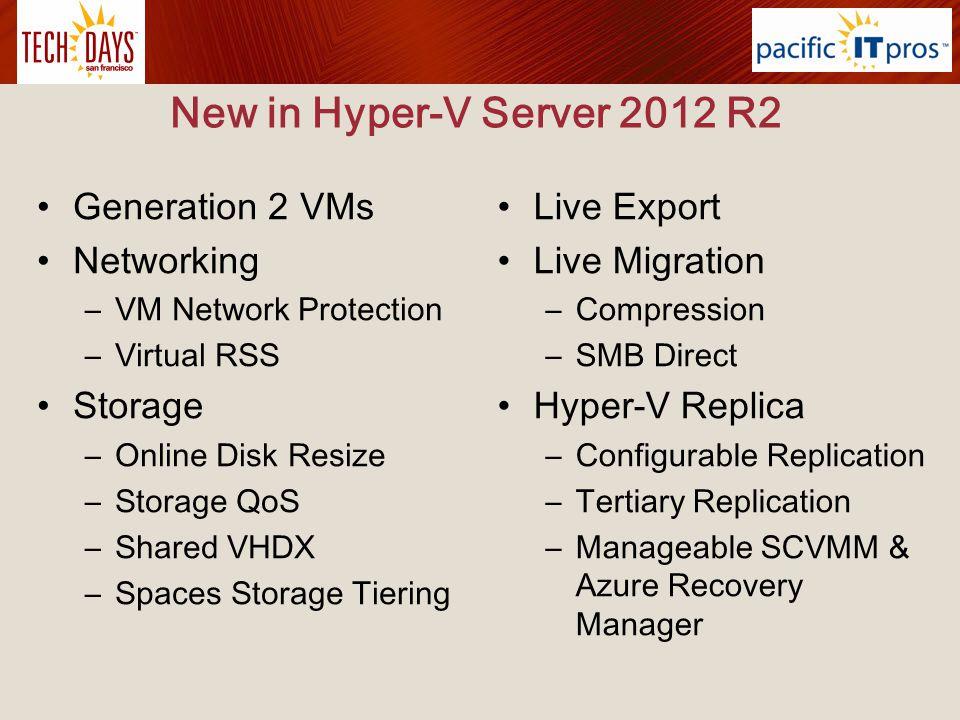 Updated in Hyper-V Server 2012 R2 Resize virtual hard disk Live migrations Integration services Export Failover Clustering and Hyper-V Hyper-V Replica Linux support Management Hyper-V Networking 6