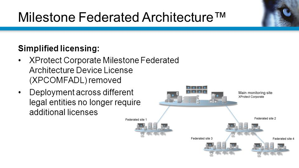 Simplified licensing: XProtect Corporate Milestone Federated Architecture Device License (XPCOMFADL) removed Deployment across different legal entities no longer require additional licenses Milestone Federated Architecture™