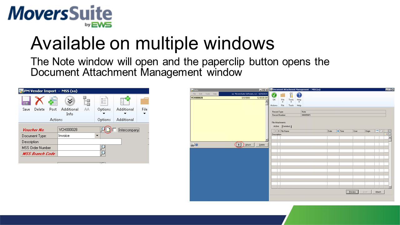 Available on multiple windows The Note window will open and the paperclip button opens the Document Attachment Management window