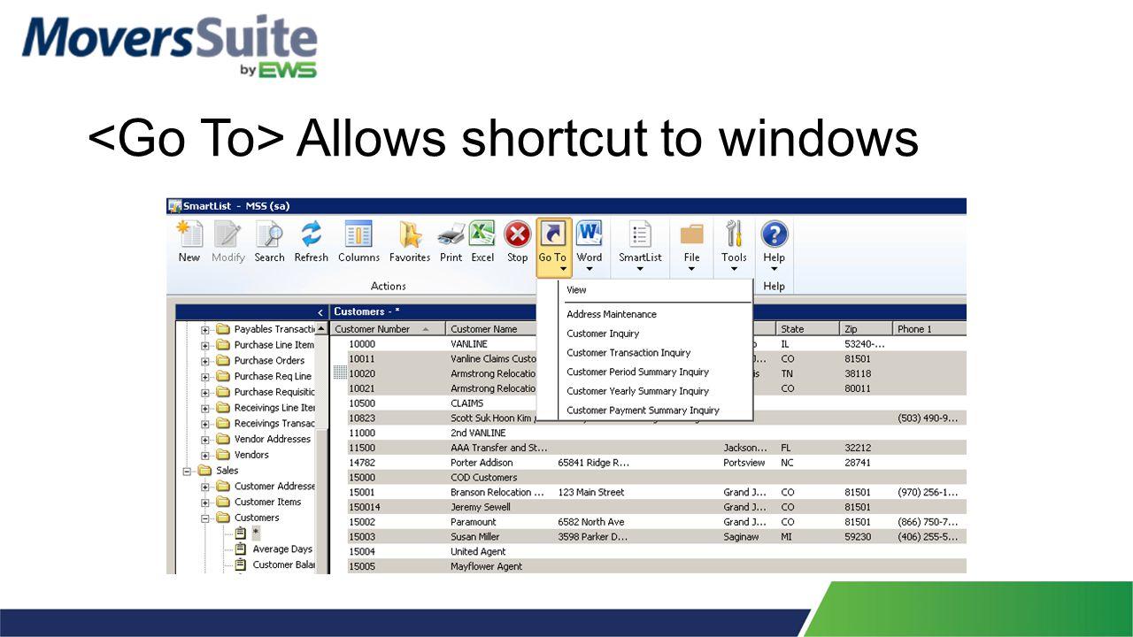 Allows shortcut to windows