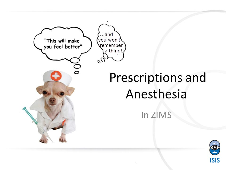 Prescriptions and Anesthesia In ZIMS 6