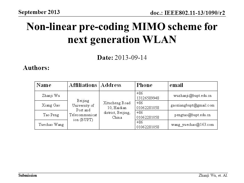 doc.: IEEE802.11-13/1090/r2 Submission September 2013 Zhanji Wu, et.