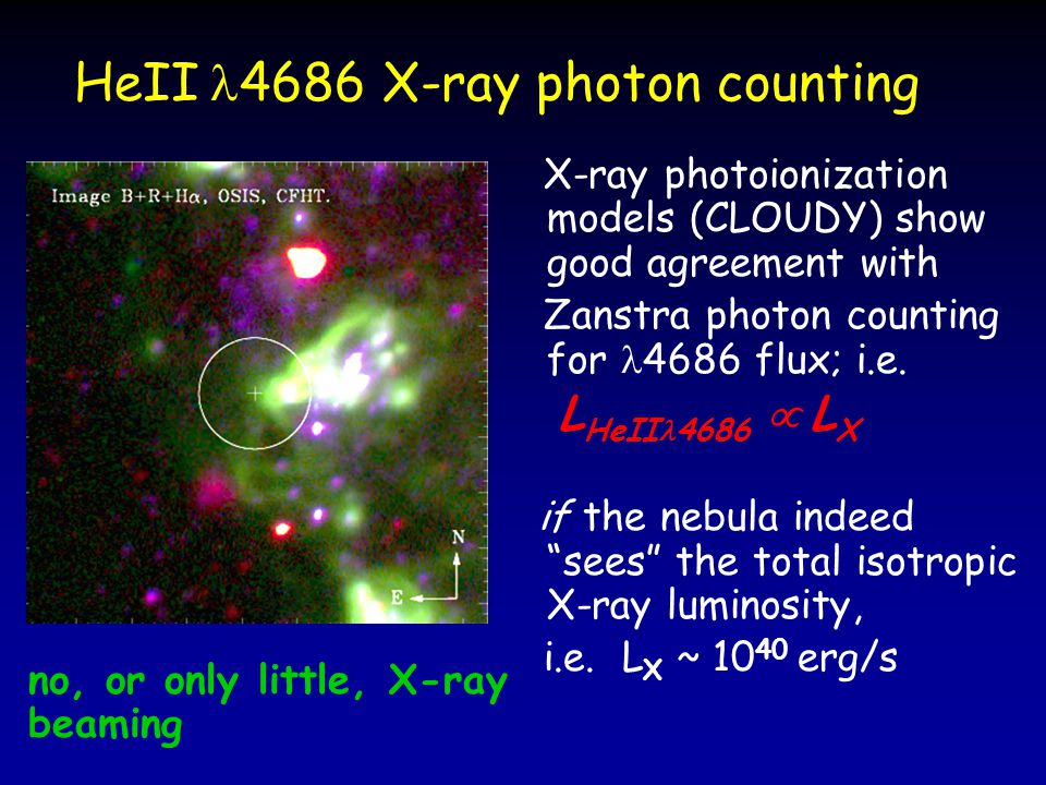 HeII 4686 X-ray photon counting X-ray photoionization models (CLOUDY) show good agreement with Zanstra photon counting for 4686 flux; i.e.