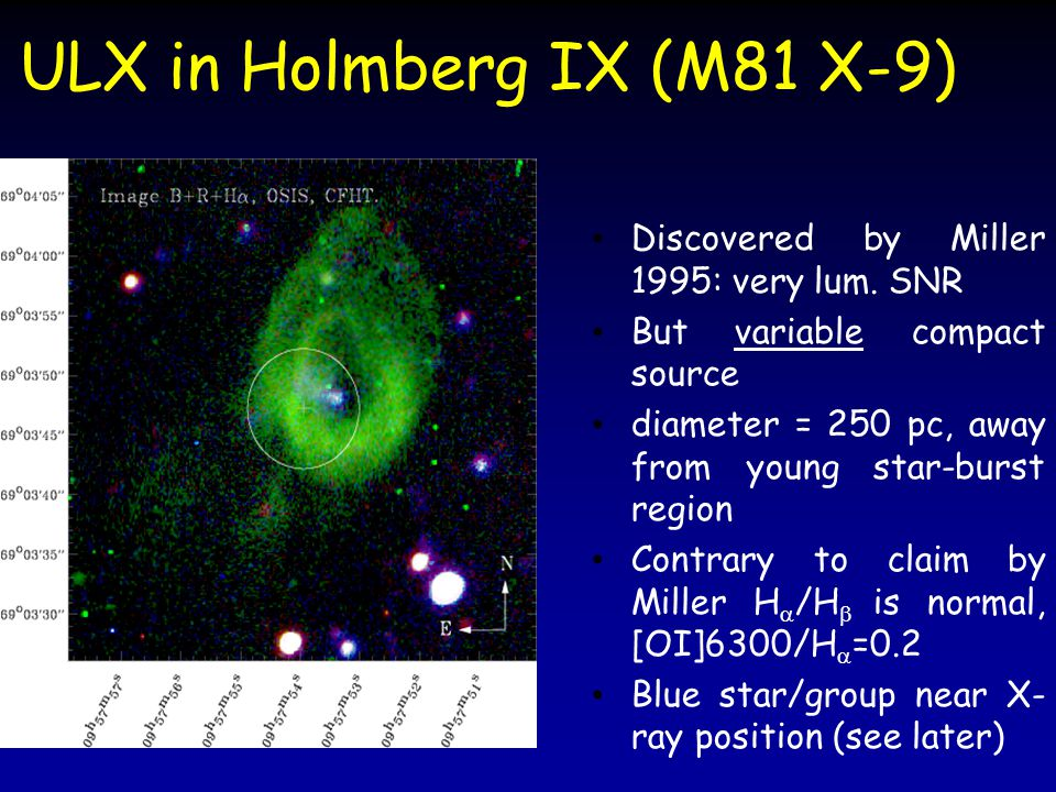 ULX in Holmberg IX (M81 X-9) Discovered by Miller 1995: very lum.