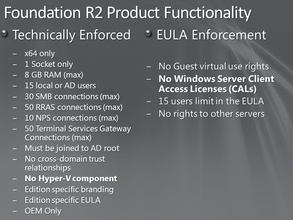 Foundation R2 Product Functionality Technically Enforced ‒x64 only ‒1 Socket only ‒8 GB RAM (max) ‒15 local or AD users ‒30 SMB connections (max) ‒50 RRAS connections (max) ‒10 NPS connections (max) ‒50 Terminal Services Gateway Connections (max) ‒Must be joined to AD root ‒No cross-domain trust relationships ‒No Hyper-V component ‒Edition specific branding ‒Edition specific EULA ‒OEM Only EULA Enforcement ‒No Guest virtual use rights ‒No Windows Server Client Access Licenses (CALs) ‒15 users limit in the EULA ‒No rights to other servers