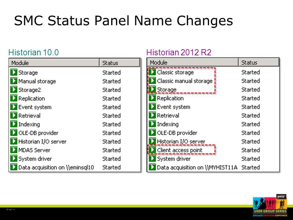 Slide 14 SMC Status Panel Name Changes Historian 10.0Historian 2012 R2