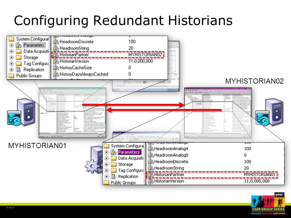 Slide 24 Configuring Redundant Historians MYHISTORIAN01 MYHISTORIAN02