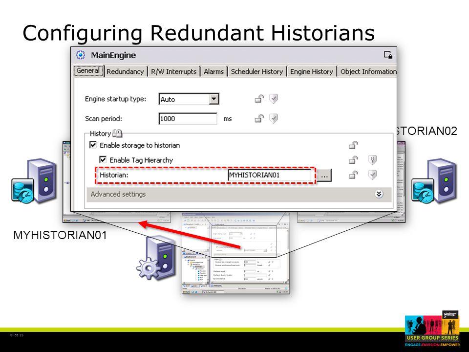 Slide 25 MYHISTORIAN01 MYHISTORIAN02 Configuring Redundant Historians