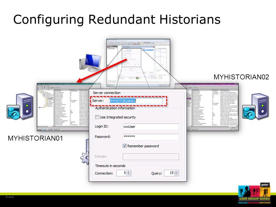 Slide 26 MYHISTORIAN01 MYHISTORIAN02 Configuring Redundant Historians