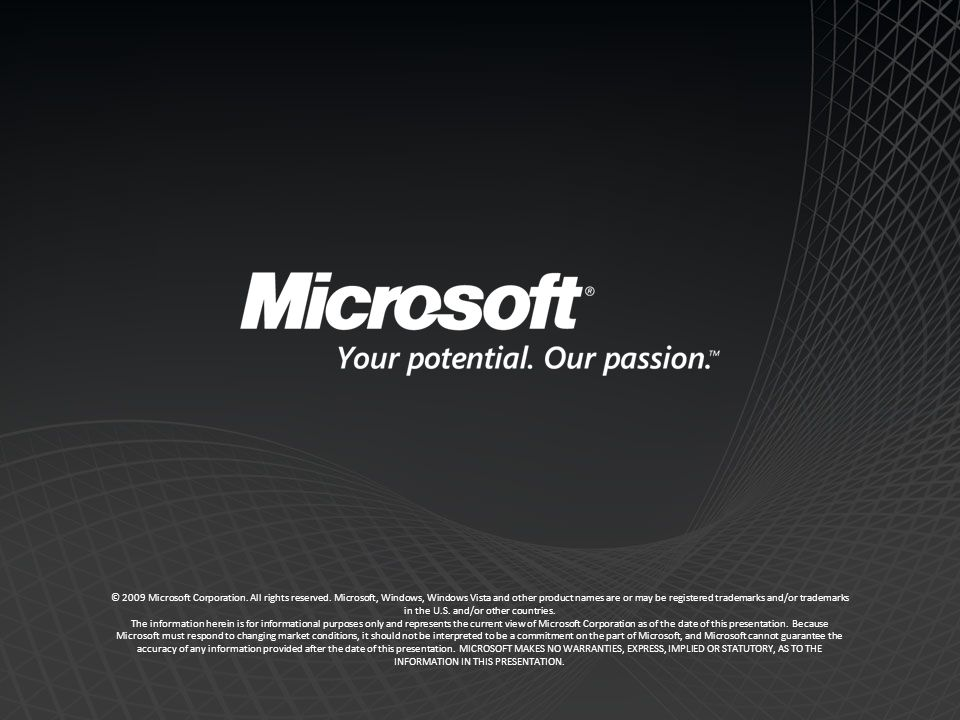 © 2009 Microsoft Corporation.All rights reserved.