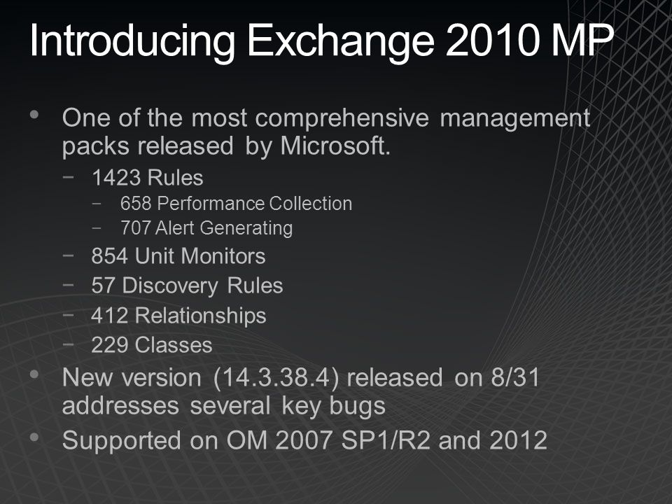 One of the most comprehensive management packs released by Microsoft. −1423 Rules −658 Performance Collection −707 Alert Generating −854 Unit Monitors