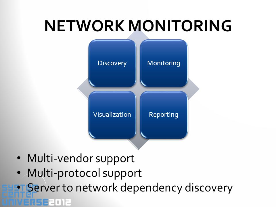 DiscoveryMonitoringVisualizationReporting NETWORK MONITORING Multi-vendor support Multi-protocol support Server to network dependency discovery