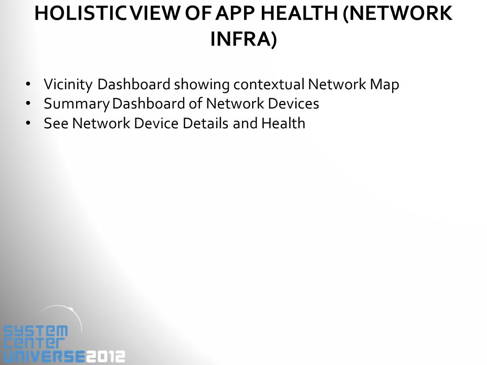 HOLISTIC VIEW OF APP HEALTH (NETWORK INFRA) Vicinity Dashboard showing contextual Network Map Summary Dashboard of Network Devices See Network Device Details and Health