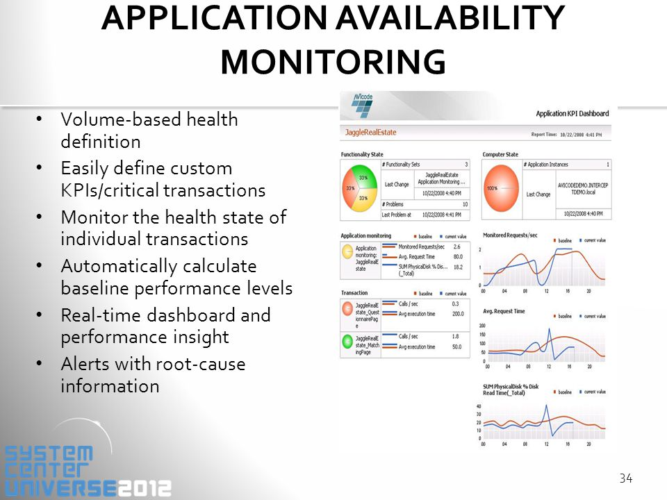 APPLICATION AVAILABILITY MONITORING Volume-based health definition Easily define custom KPIs/critical transactions Monitor the health state of individual transactions Automatically calculate baseline performance levels Real-time dashboard and performance insight Alerts with root-cause information 34